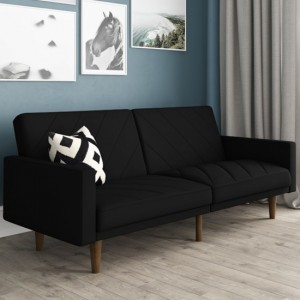 Paxson Linen Fabric Sofa Bed In Black With Wooden Feets