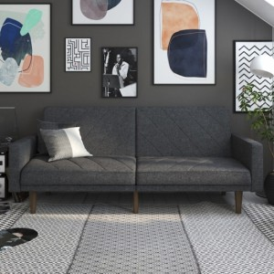 Paxson Linen Fabric Sofa Bed In Dark Grey With Wooden Feets