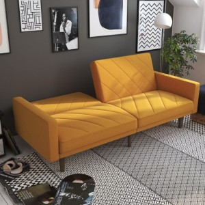 Paxson Linen Fabric Sofa Bed In Mustard With Wooden Feets