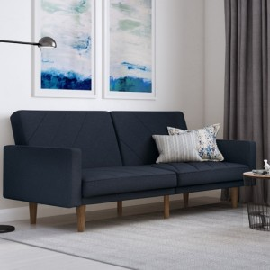 Paxson Linen Fabric Sofa Bed In Navy Blue With Wooden Feets