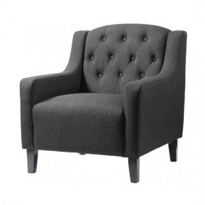 Pemberley Fabric Armchair In Grey With Wooden Legs