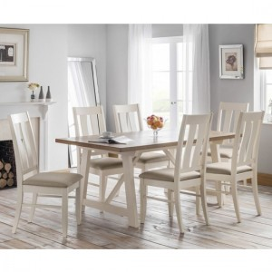 Pembroke Wooden Dining Table In Oak And Ivory With 6 Chairs