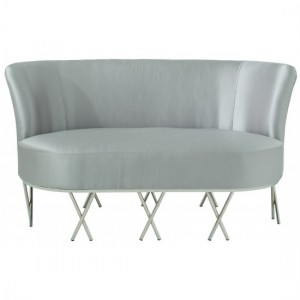 Penelope Grey Silk Fabric 2 Seater Sofa With Polished Stainless Steel Legs