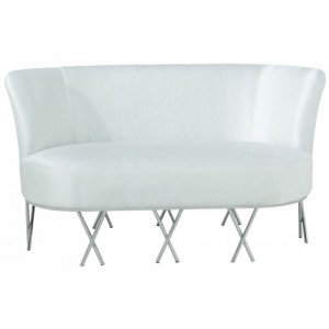 Penelope Ivory White Fabric 2 Seater Sofa With Polished Stainless Steel Legs