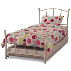 Penny Metal Single Bed And Guest Bed In White Gloss