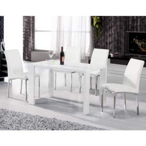 Peru Wooden Dining Set In White High Gloss With 4 Chairs