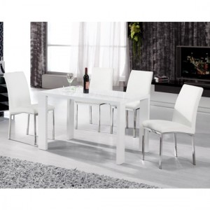 Peru Wooden Dining Table In High Gloss White With 4 Chairs