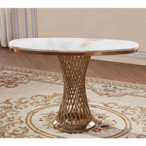 Pescara Marble Console Table With Rose Gold Base