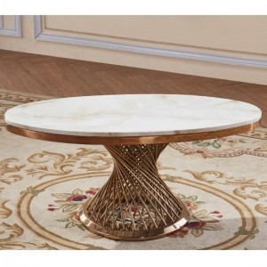 Pescara Oval Marble Coffee Table In White With Rose Gold Base