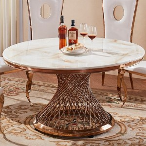 Pescara Round Marble Dining Table In White With Rose Gold Base
