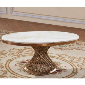 Pescara White Marble Coffee Table With Rose Gold Stainless Steel Base