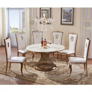 Pescara White Marble Dining Set With 6 Chairs