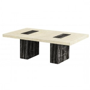 Petra Marble Rectangular Coffee Table In Natural Stone