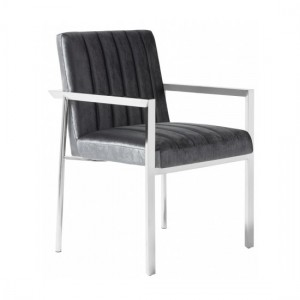Peyton Grey Velvet Bedroom Chair With Polished Stainless Steel Legs