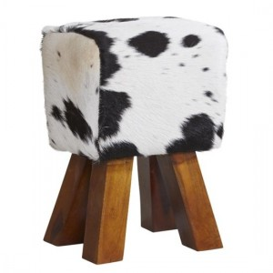 Phekon Cowhide Faux Leather Stool In Dark