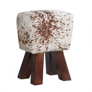 Phekon Cowhide Faux Leather Stool In Natural