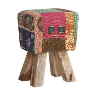 Phekon Fabric Upholstered Stool In Multi-Colours