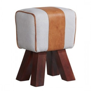 Phekon Faux Leather Canvas Stool In White And Brown