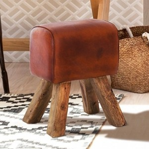 Phekon Faux Leather Turned Buck Stool In Brown