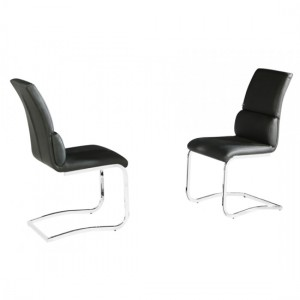Phoenix Black Faux Leather Dining Chairs In Pair With Chrome Legs