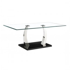 Phoenix Clear Glass Coffee Table With Stainless Steel Base
