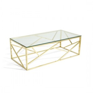 Phoenix Clear Glass Top Coffee Table With Gold Base
