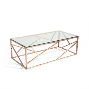 Phoenix Clear Glass Top Coffee Table With Rose Gold Base