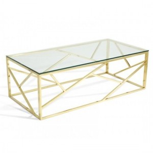 Phoenix Clear Glass Top Coffee Table With Gold Frame