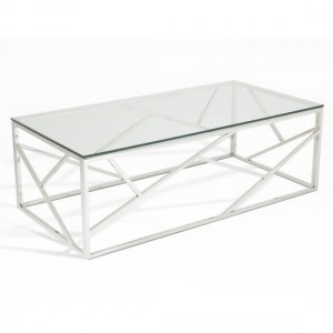 Phoenix Clear Glass Top Coffee Table With Silver Frame