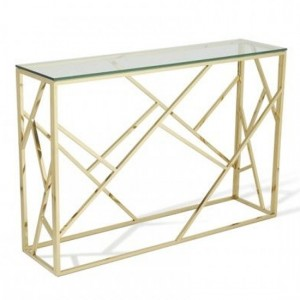 Phoenix Clear Glass Top Console Table With Gold Frame