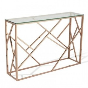 Phoenix Clear Glass Top Console Table With Rose Gold Frame