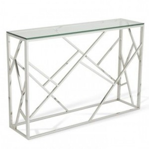 Phoenix Clear Glass Top Console Table With Silver Frame