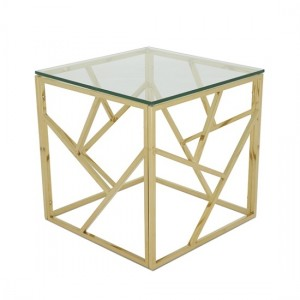 Phoenix Clear Glass Top Lamp Table With Gold Base