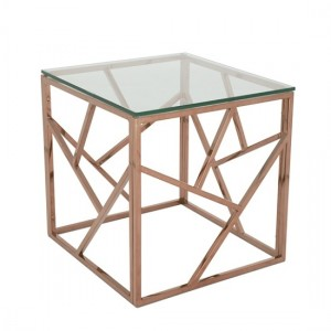 Phoenix Clear Glass Top Lamp Table With Rose Gold Base