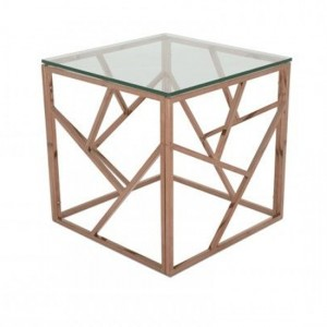 Phoenix Clear Glass Top Lamp Table With Rose Gold Frame