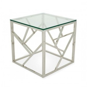 Phoenix Clear Glass Top Lamp Table With Silver Frame