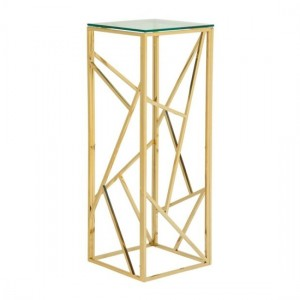Phoenix Clear Glass Top Side Table With Gold Frame