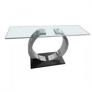Phoenix Glass Console Table With Stainless Steel Base