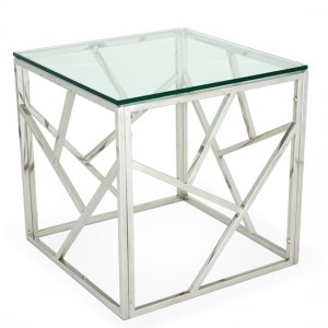 Phoenix Glass Top Lamp Table With Polished Stainless Steel Base
