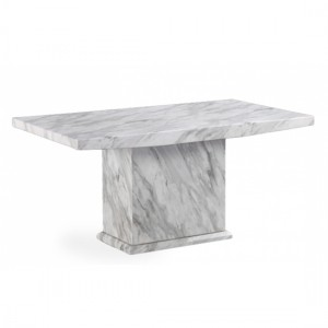 Phoenix Large Rectangular Marble Dining Table In White