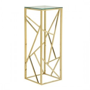 Phoenix Modern Clear Glass Top Pedestal With Gold Frame