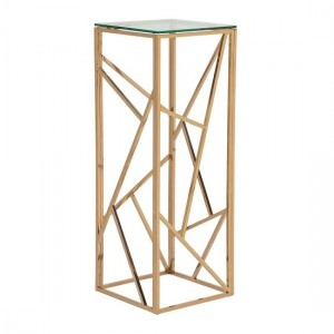 Phoenix Modern Clear Glass Top Pedestal With Rose Gold Frame