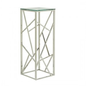 Phoenix Modern Clear Glass Top Pedestal With Silver Frame