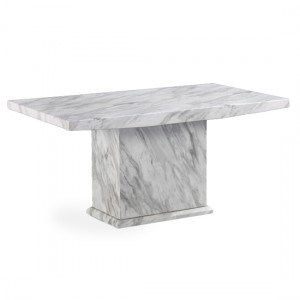 Phoenix Rectangular Marble Dining Table In White