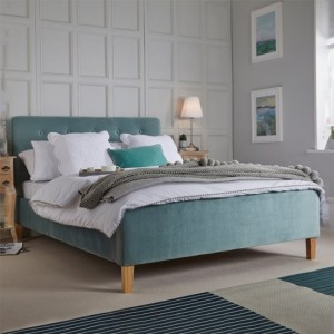 Pierre Crushed Velvet King Size Bed In Aqua