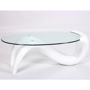 Pike Fibre Glass Coffee Table With White High Gloss