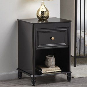 Piper Wooden Bedside Table In Black With 1 Drawer