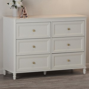 Piper Wooden Chest Of Drawers In Cream With 6 Drawers