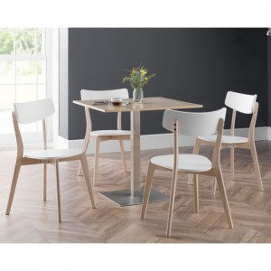 Pisa Wooden Dining Table In Oak With 4 Casa Chairs