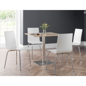Pisa Wooden Dining Table In Oak With 4 Mandy White Chairs